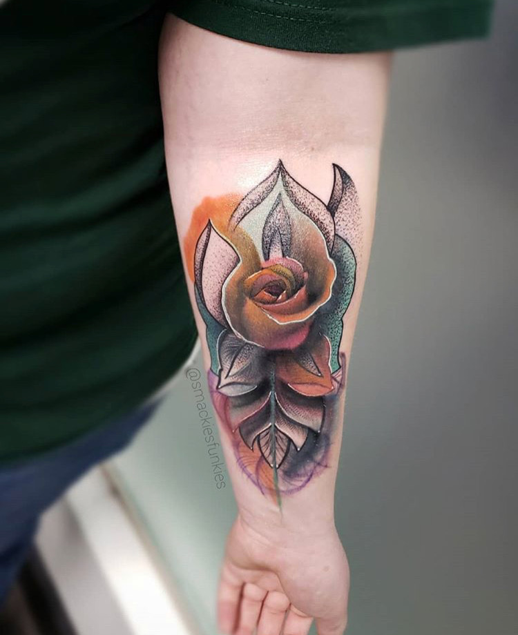 Custom Full Color Illustrative Rose Tattoo by David Perea at Certified Tattoo Studios Denver CO .JPG