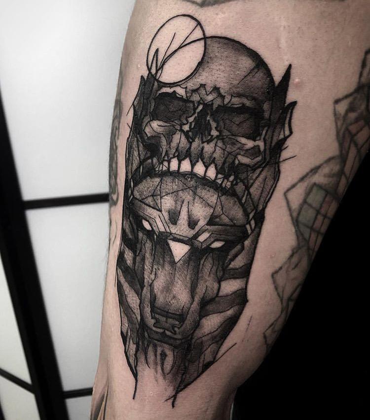 Custom Geometric Black Sketch Work Anubis and Skull Tattoo by Gabriel Mondragon at Certified Tattoo Studios Denver CO  .JPG