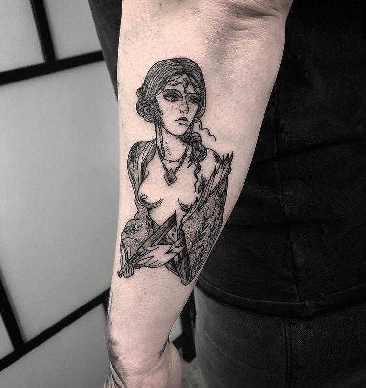 Triss Merigold The Witcher Tattoo by Gabriel Mondragon at Certified Tattoo Studios Denver Co (7).JPG