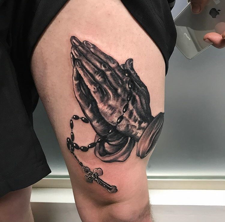 Custom Black and Grey Praying Hands and Rosery Tattoo by Greg Paquin at Certified Tattoo Studios Denver Co  .jpg