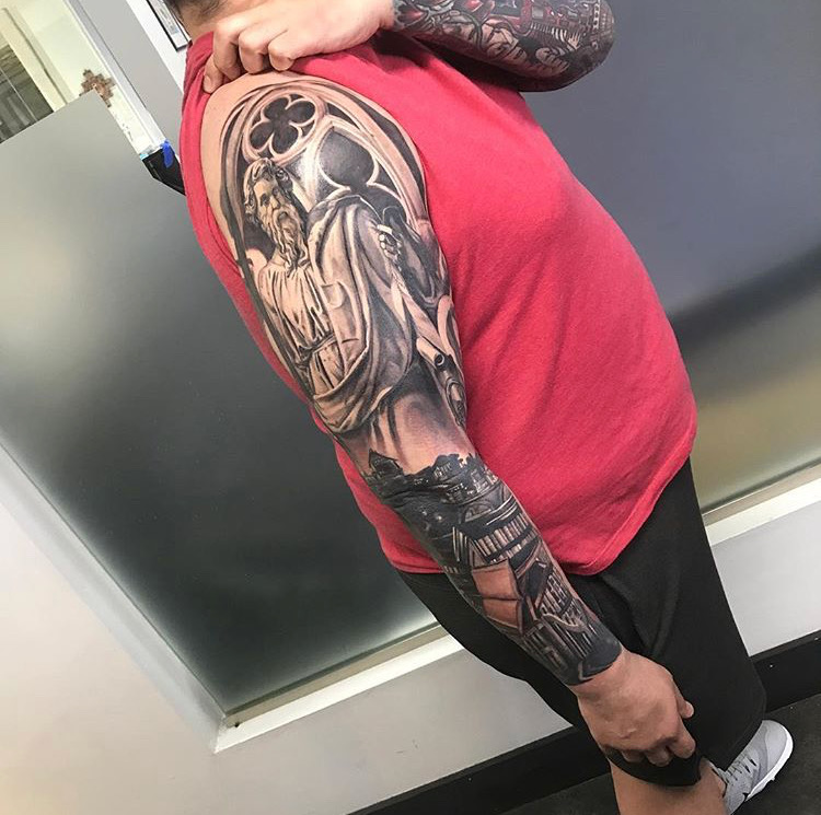 Custom Black and Grey Full Sleeve Tattoo by Greg Paquin at Certified Tattoo Studios Denver Co .JPG