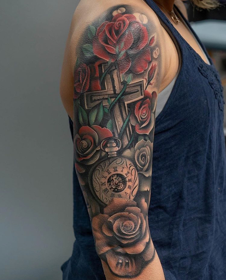 Custom Color Fading into Black and Grey Roses Clock and CrossTattoo by Jean Yepes at Certified Tattoo Studios Denver Co.JPG
