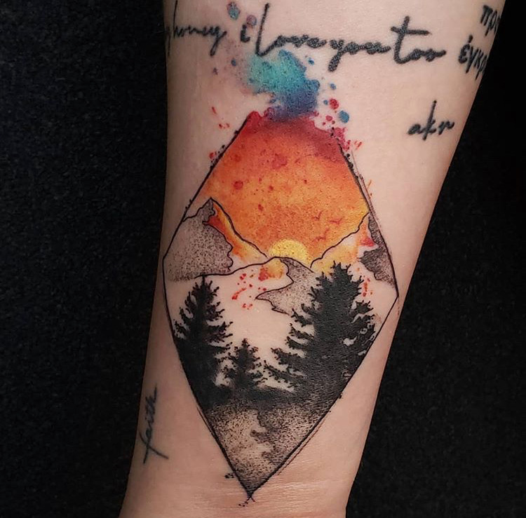 Custom Geometric Water Color Mountains and Pine Trees Tattoo by Jeff Terrel at Certified Tattoo Studios Denver Co .JPG