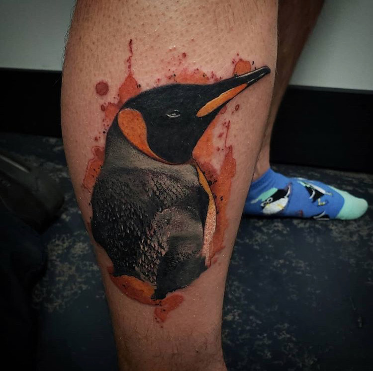 Custom Water Color Penguine Tattoo by Jeff Terrel at Certified Tattoo Studios Denver Co .JPG