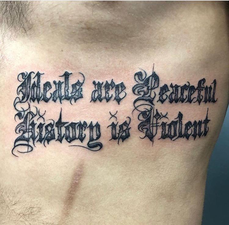 Custom Black Work Old English Lettering Tattoo by Meikel Castellon at Certified Tattoo Studios Denver Co    .JPG