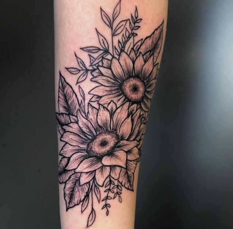 Custom Black Work Sunflowers Tattoo by Meikel Castellon at Certified Tattoo Studios Denver Co .JPG