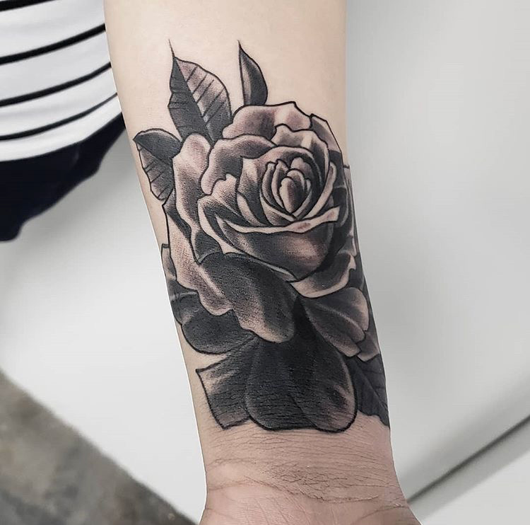 Custom Black and Grey Rose Tattoo by Mike Piper at Certified Tattoo Studios Denver CO.JPG