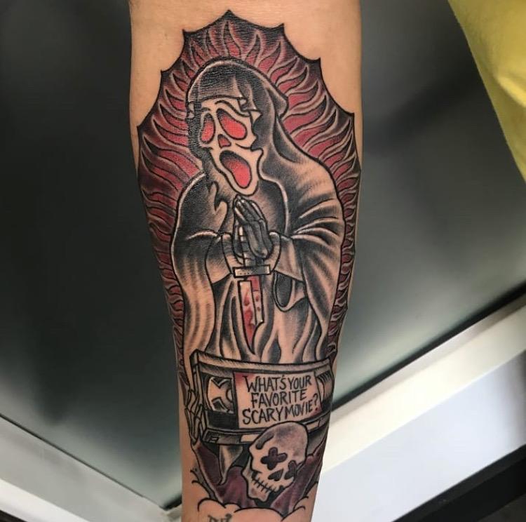 Custom Horror Movie Scream Tattoo by Michael Myers at Certified Tattoo Studios Denver Co.JPG