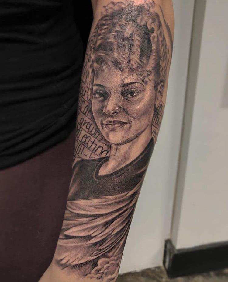 Custom Black and Grey Memorial Portrait Tattoo by Ramon Marquez at Certified Tattoo Studios Denver Co .JPG