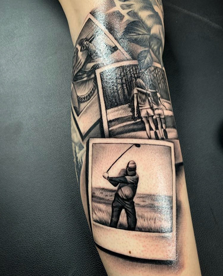 Custom Black and Grey Polaroid Pictures Tattoo by Salvador Diaz at Certified Tattoo Studios Denver CO .JPG