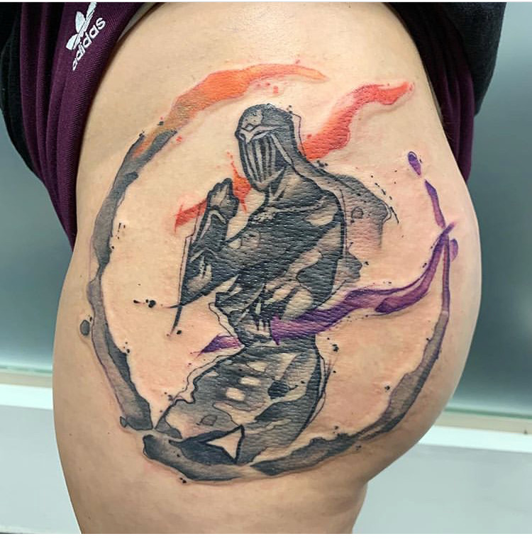 Custom Water Color Dark Souls Tattoo by Skyler Espinoza at Certified Tattoo Studios Denver Co .JPG
