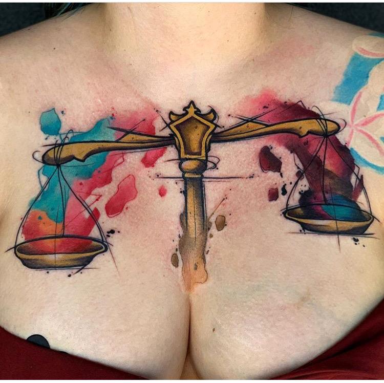Custom Water Color Libra Scale Tattoo by Skyler Espinoza at Certified Tattoo Studios Denver CO .JPG