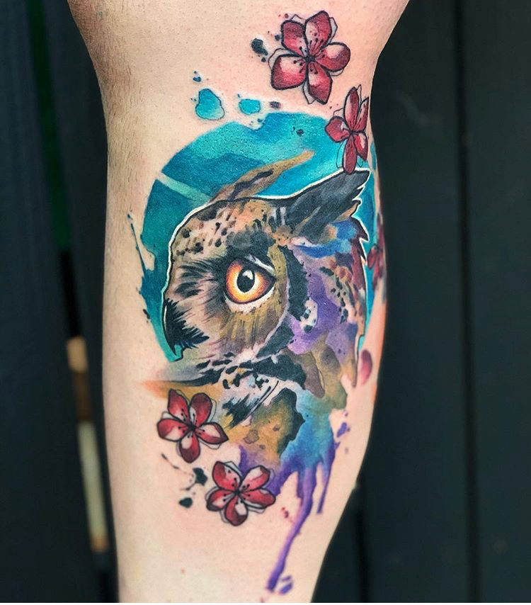Custom Water Color Owl Portrait with Cherry Blossoms Tattoo by Skyler Espinoza at Certified Tattoo Studios Denver CO .JPG