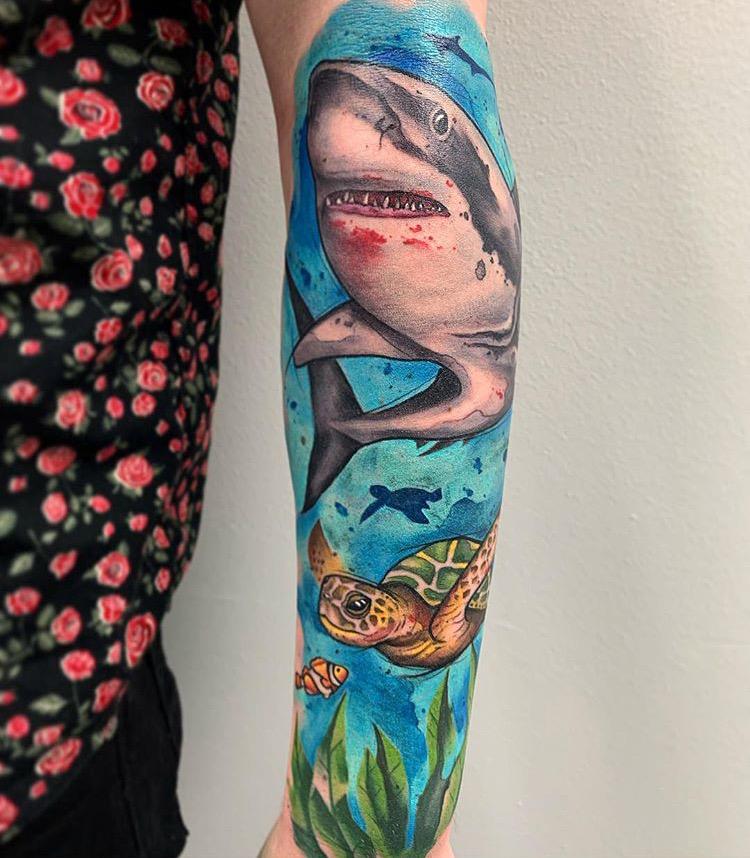 Custom Water Color Shark and Sea Turtle Half Sleeve Tattoo by Skyler Espinoza at Certified Tattoo Studios Denver Co .JPG
