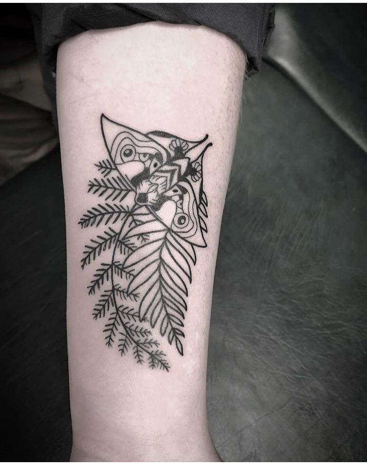 Custom Black Line Work Moth and Branch Tattoo by Spencer Reisbeck at Certified Tattoo Studios Denver Co .JPG