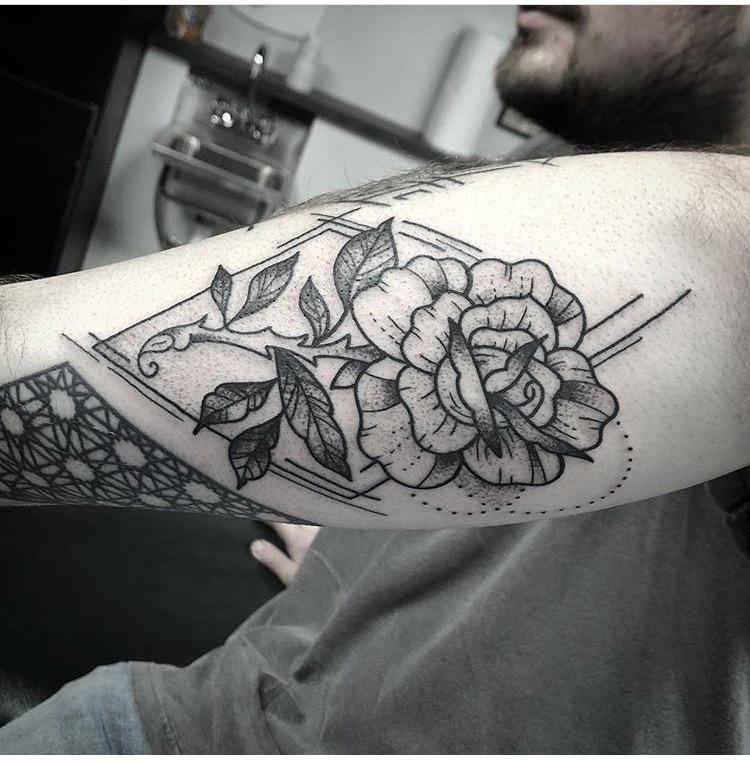 Custom Black Work Geometric Rose Tattoo by Spencer Reisbeck at Certified Tattoo Studios Denver CO .JPG