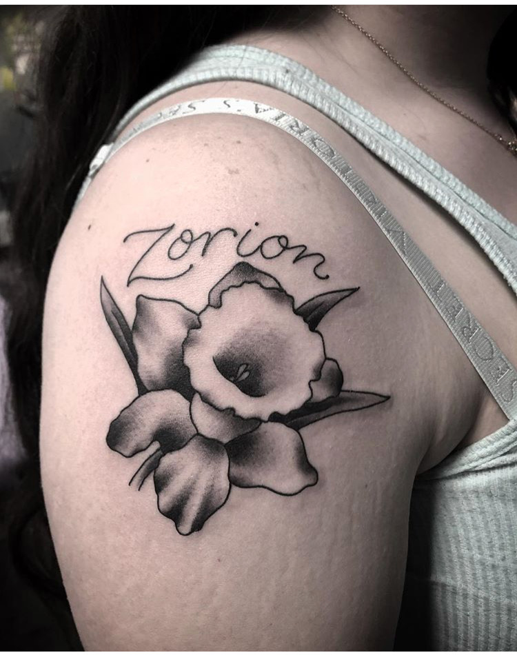 Custom Black Work Flower and Name Tattoo by Spencer at Certified Tattoo Studios Denver CO .JPG