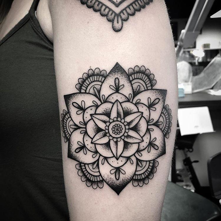 Custom Flower Mandala Tattoo by Spencer Reisbeck at Certified Tattoo Studios Denver CO .JPG