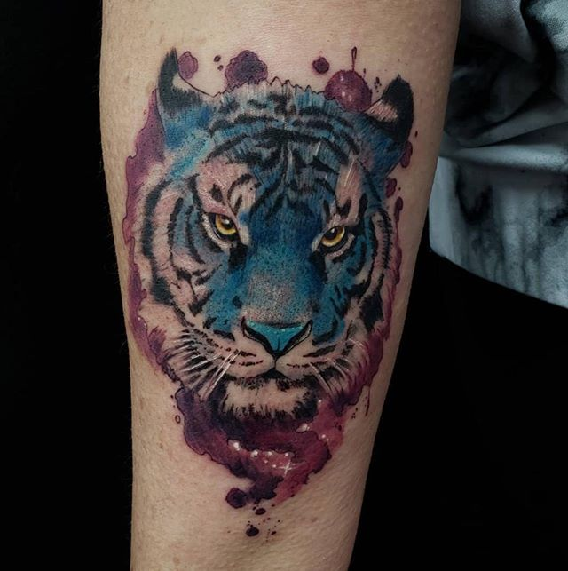 If you ever go to the zoo to see the tigers look closely at their stripes. And you'll notice their stripes don't ever match up, the pattern of a tiger's stripes are as unique as the human fingerprint. So Jeff's (@eljefetattoos) astounding watercolor design is not only custom, but the tiger itself is one of a kind.🐯 ---------------------------------------------------------------- Certified Tattoo Studios 6250 E Yale Ave Denver, CO 80222📍 Thinking about your next tattoo? Give us a call at 720-366-6925 📲 or email booking@certifiedtattoo.com 📩 to set up an appointment. ---------------------------------------------------------------- #tattoos #ink #inked #tattooed #tattooartist #tattooart #tattoolife #inkedup #girlswithtattoos #inkedgirls #bodyart #instatattoo #tiger #tigers #tigertattoo #动物 #животное #hayvan #bigcat #tier #catsgram #動物 #onitsuka #bigcats #tigre #tigress #bestanimal #lion #zoo #onitsukatiger