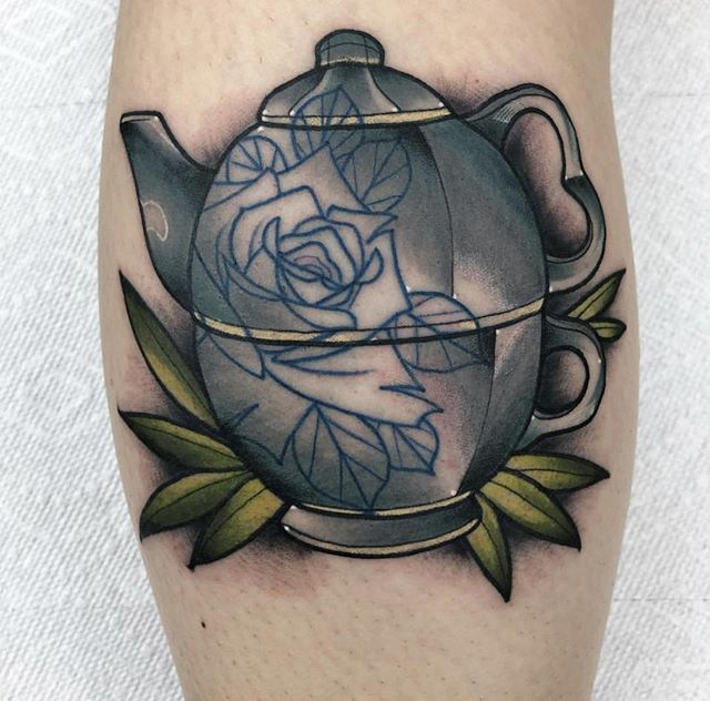 Chinese legend holds that the emperor Shen Nong first drank hot water accidentally infused with tea leaves in 2737 BC. Regardless, until around 300 CE, it was considered to be a healing drink rather than a casual beverage, and Alec (@lil_jito) made the perfect teapot to pour it from. ---------------------------------------------------------------- Certified Tattoo Studios  6250 E Yale Ave Denver, CO 80222 📍 Thinking about your next tattoo? Give us a call at 720-366-6925 📲 or email booking@certifiedtattoo.com 📩 to set up an appointment. ---------------------------------------------------------------- #tea #teatime #tealover #teacup #greentea #teaaddict #instatea #tealovers #cupoftea #çay #teastagram #mug #detox #matcha #ilovetea #чай #tattoos #ink #inked #tattooed #tattooartist #tattooart #tattoolife #inkedup #girlswithtattoos #inkedgirls #bodyart #instatattoo #tattooist #tattooedgirls