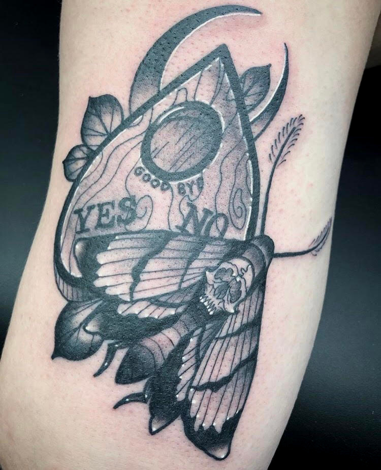 Custom Black and Grey Planchette and Skull Moth Neo Traditional Style Tattoo by Alec at Certified Tattoo Studios Denver CO  (17).jpg