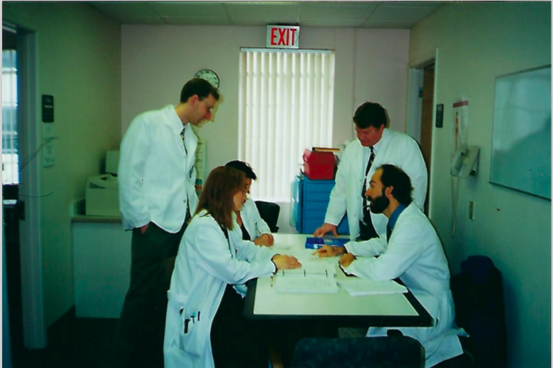 Dr. Skaggs with interns at Washington University School of Medicine Department of Obstetrics, where he led clinics for eight years
