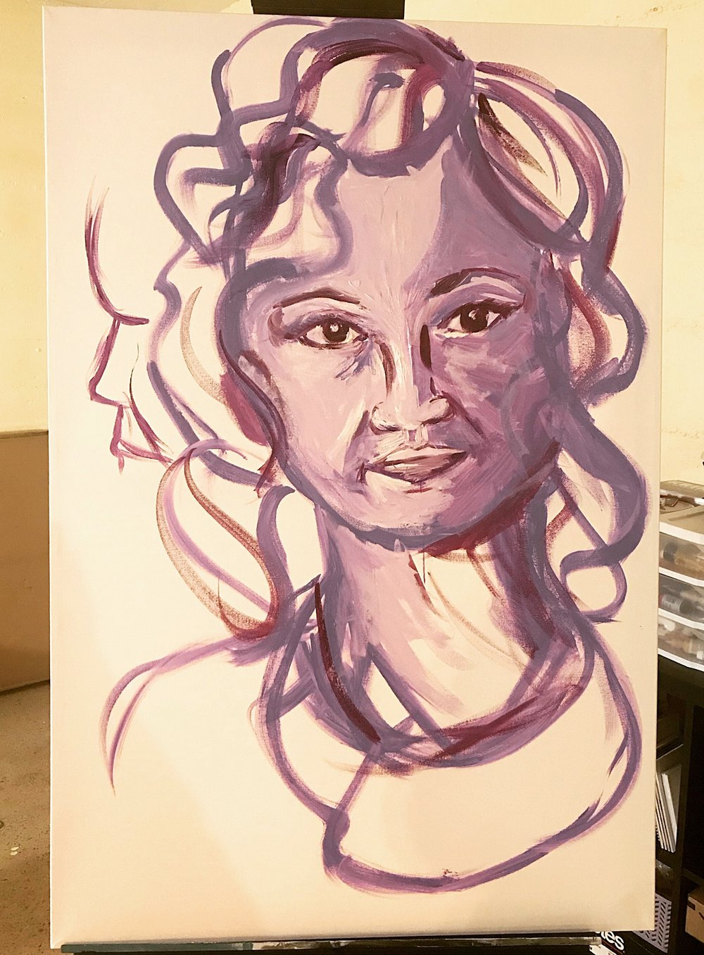 "Purple Anna in progress, Acrylic on Canvas, 24""x36"""