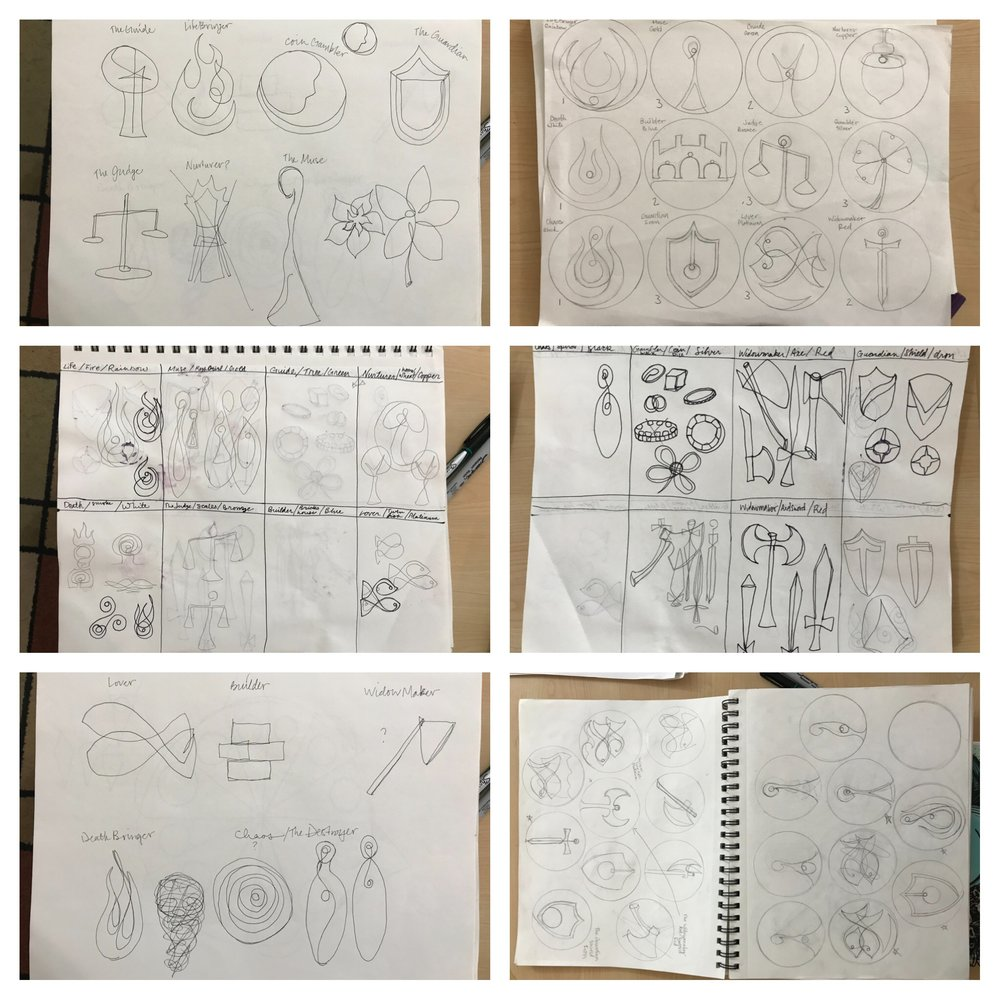 Sketches and concepts, thumbnails and redraws of the 12 sigils.