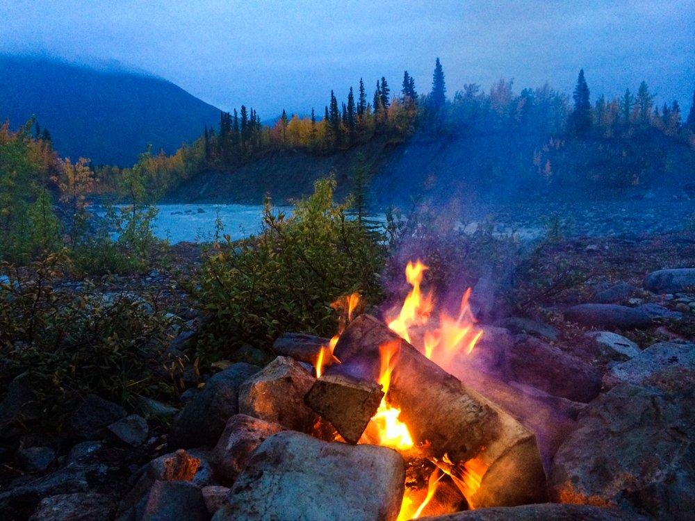 an evening campfire