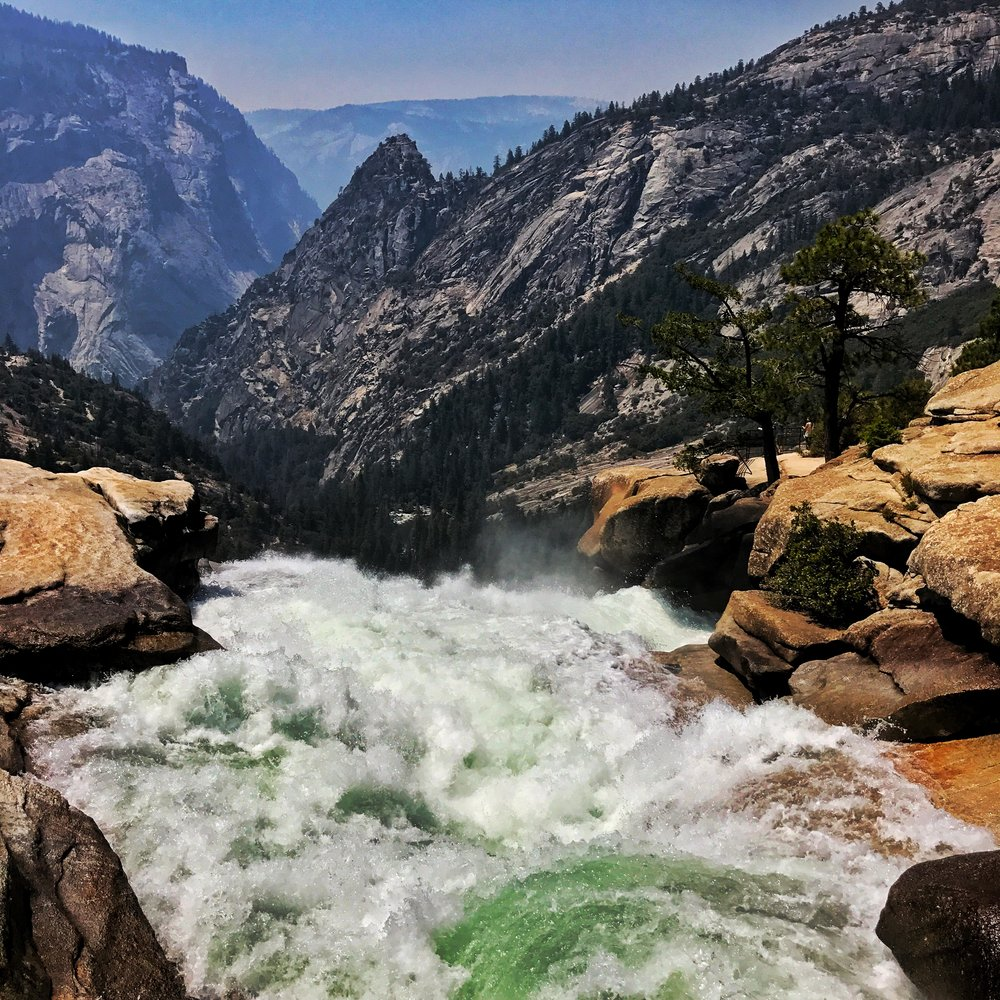 top of Nevada falls with insane water flow