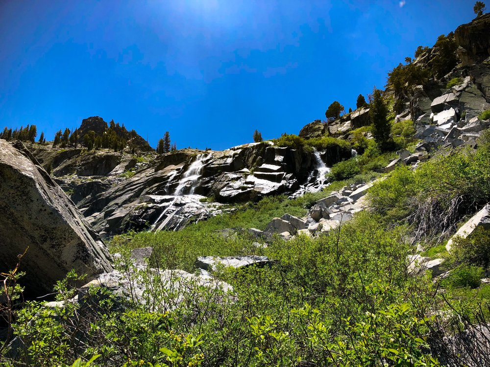 The falls above snow lake