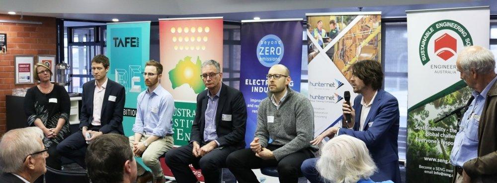 Expert panel (l. to r.)  A2EP's Liz Hutton, BZE's Michael Lord, Todae Solar's Daniel Lazarus, Engineers Australia's Frank Sammut, OEH's David Hoffmann, OEH's Bradley Anderson with MC, Em Prof. Tim Roberts