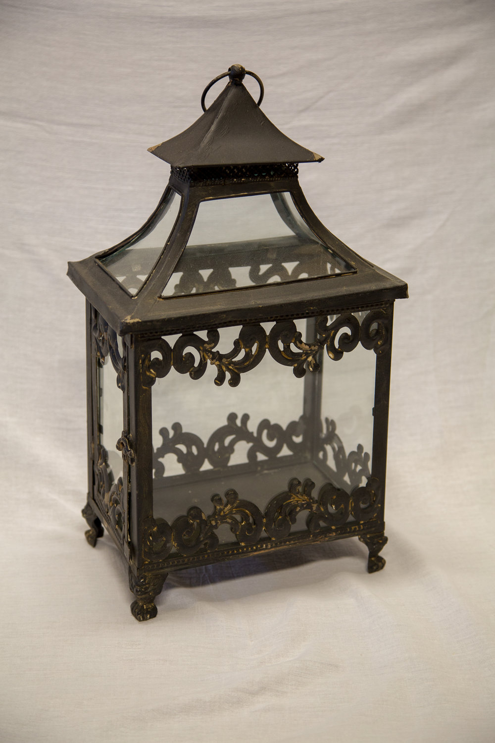 Black Distressed Scalloped Lantern