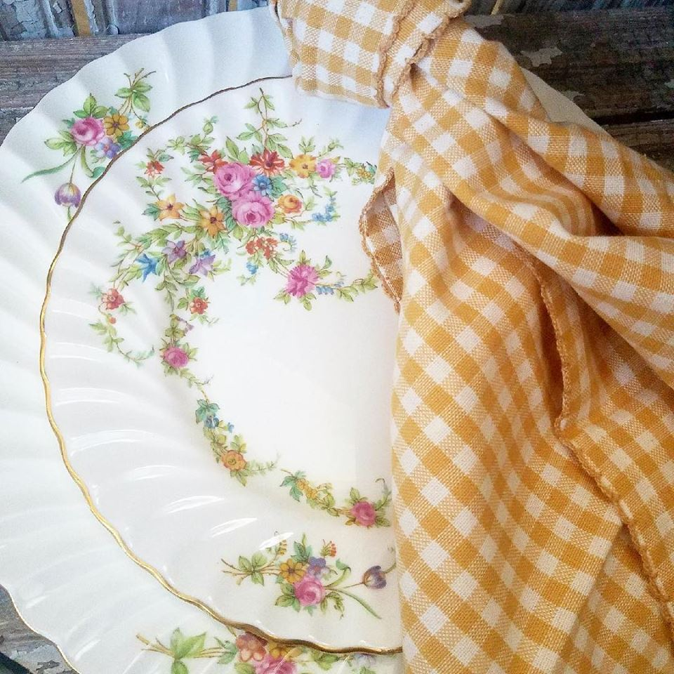 Mustard and White Cotton Napkin