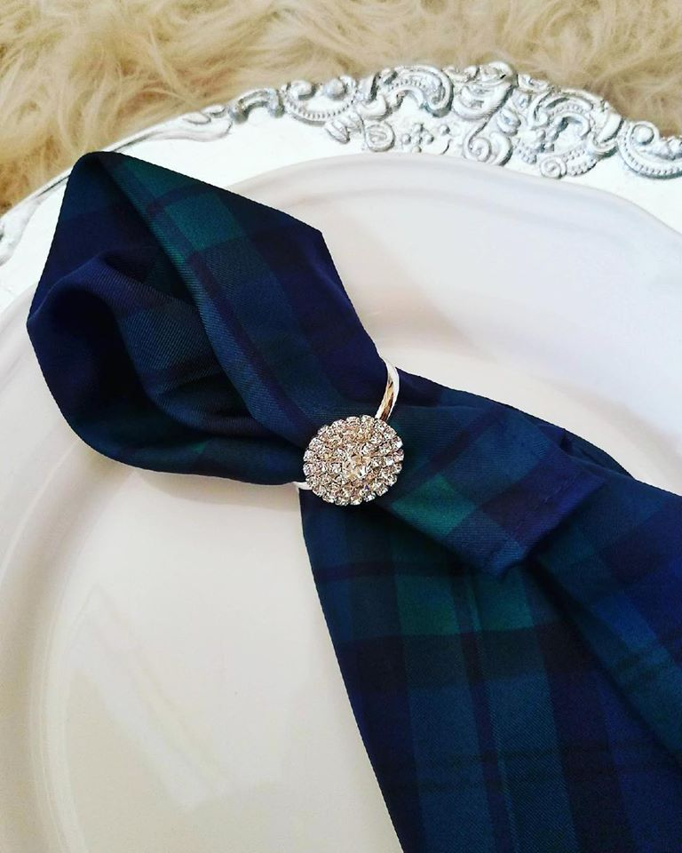 Blue and Green Tartan Silk Napkin