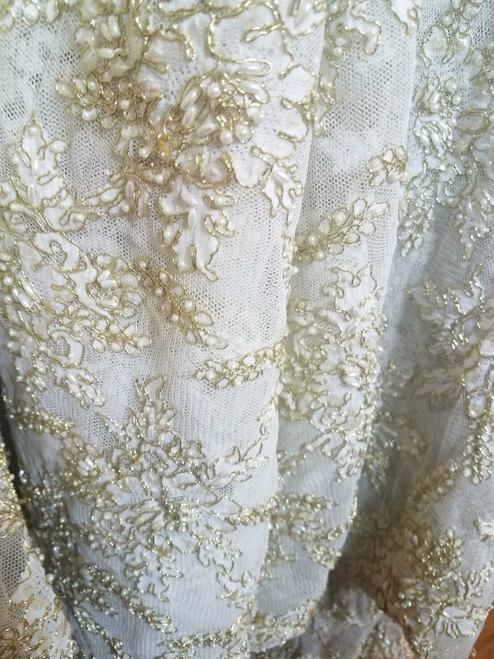Gold and Cream French Beaded Lace Tablecloth