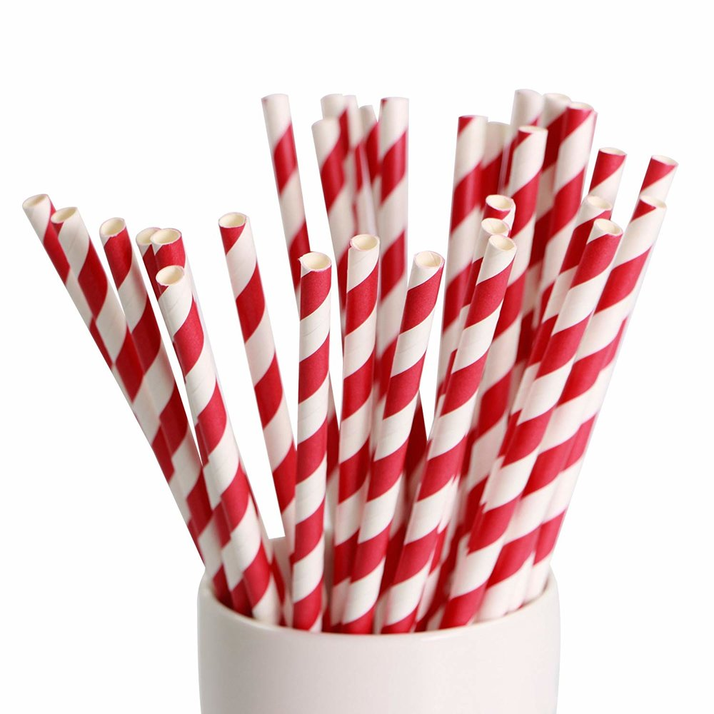 red and white paper straws, festive