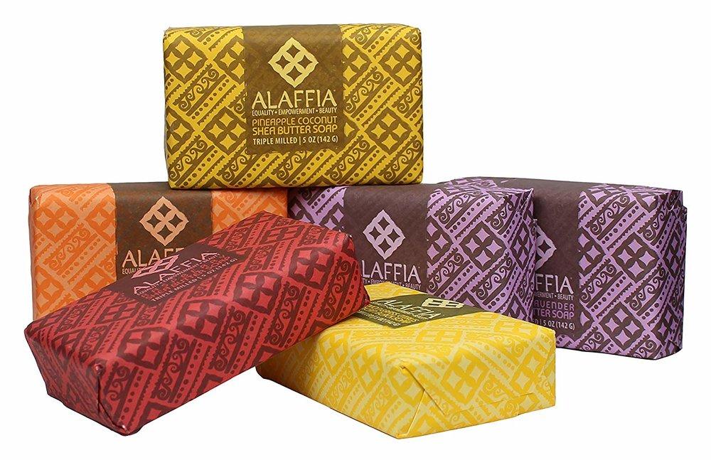 Soap, fair trade, Alaffia, yellow, orange, red, purple