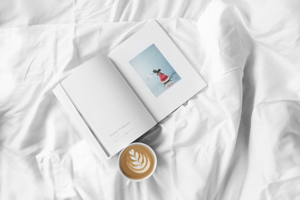 book, latte, white sheet