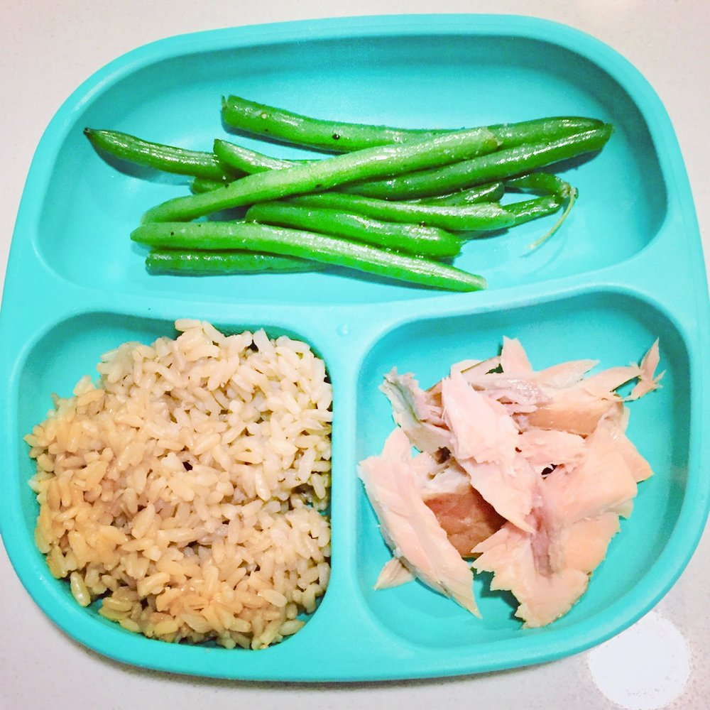 Green beans, brown rice and salmon
