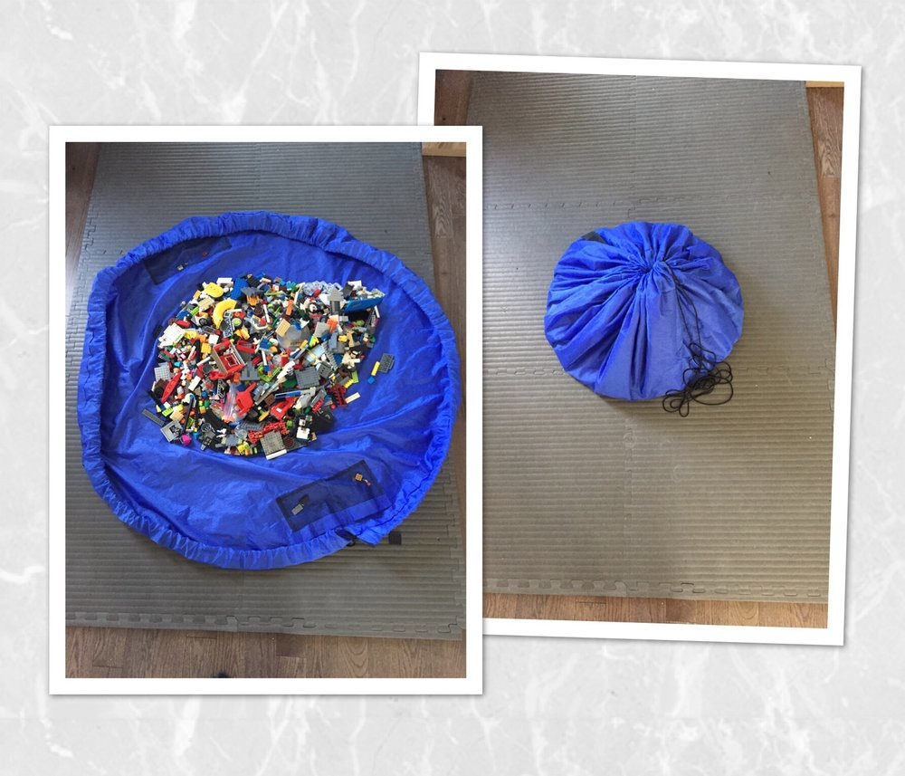 And of course Legos:  We love legos in our house, one of the best ways to develop good fine motor skills, follow steps, concentration, and challenge our brains with new creations too.  This is a good way to storage them and easy to clean up.