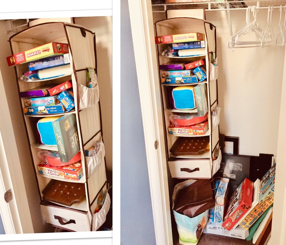 Family games:  We storage these in the entry way closet so they are close and available to use in the living room!. Family games are great for spending time together practice social skills, practice patience taking turns, respect, and have fun.