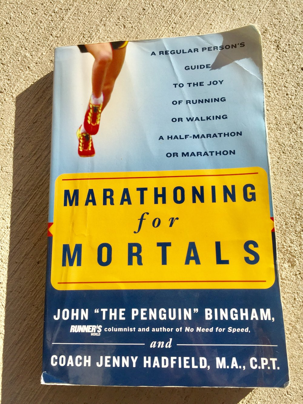 This is the book I read when I started running - It is a guide for people that is just starting. I never run that long before, But I followed the schedule until the end and I run my first Half Marathon with a good time and I was well prepared for it.Marathoning for Mortals: A Regular Person's Guide to the Joy of Running or Walking a Half-Marathon or Marathon Paperback – May 2, 2003. by John Bingham (Author), Jenny Hadfield (Author)