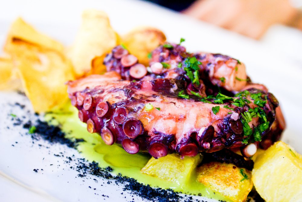 Charred Fremantle octopus, nuoc cham & green chilli mayo served with a glass of After Hours Chardonnay $30.00 - Availability: Lunch & Dinner