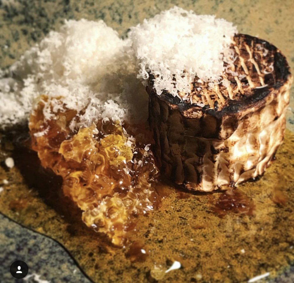 Petit Fromage, honeycomb & macadamia served with crisp bread.Petit fromage from Cambray Cheese in Nannup, Honeycomb from Phil's Veggie Patch in Manjimup, Macadamia from Mac Nuts in Serpentine $16.00 - Availability: Dessert