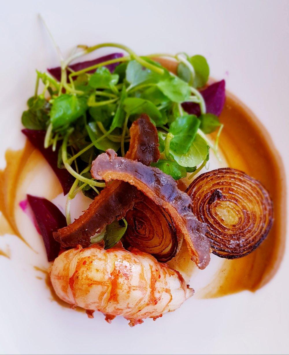 Sautéed West Australian Marron, Crispy Duck, Beetroot, Roasted Onion, Chestnut Puree and Watercress$35.00 - Availability: Lunch & Dinner