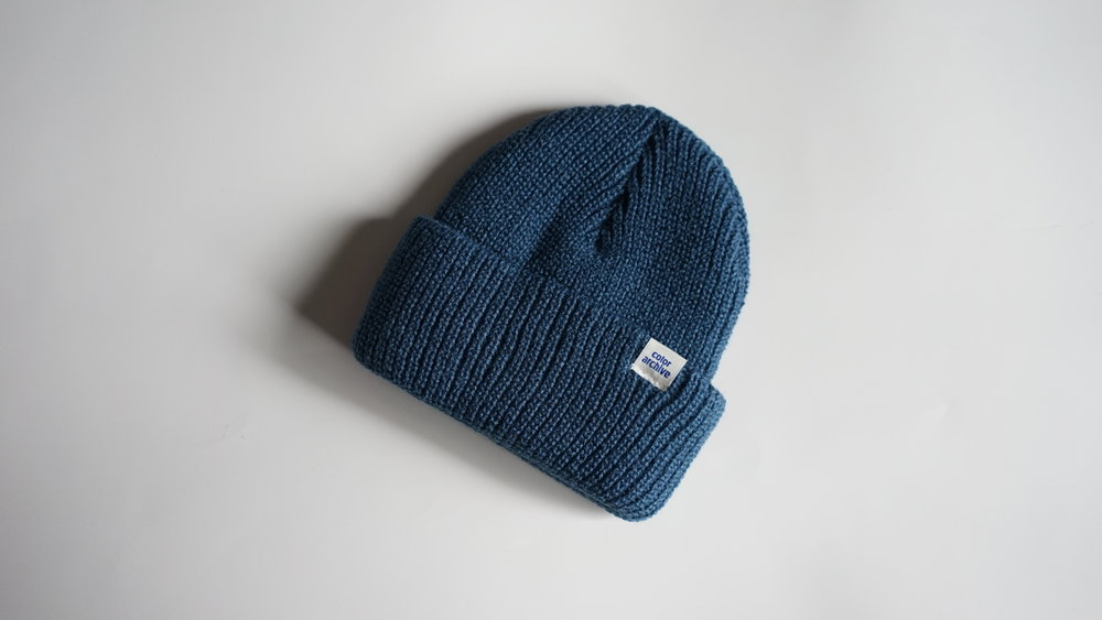 CA ESSENTIAL BEANIE - COBALT BLUE  HEAVYWEIGHT ACRYLIC BEANIE  MADE IN USA FROM START TO FINISH  100% ACRYLIC