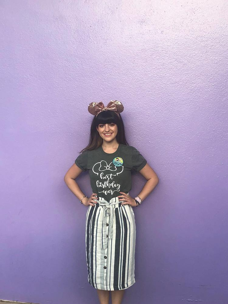 Birthday outfit -- Top:  GREYLITTLEARROWS on ETSY ; SKIRT:  similiar - forever 21 ; EARS:  SHOPDISNEY