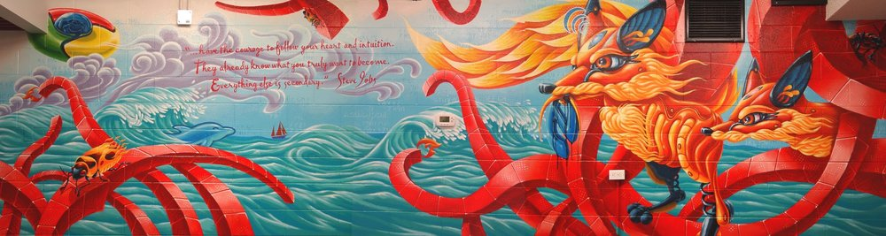This mural, painted by the talented Wil Yee, was a custom piece that adorned the entire rear wall of the first Aquanode office. Within the piece we see a pair of Firefox killing Internet Explorer, a Google Chrome flying saucer, many Firebugs, the PMA sailboat, the MySQL dolphin and the Code Ignitor flame, these comprised the tools of the day when Wil was first commissioned and this wall was the focal point of the office for the 5 years we occupied the space.