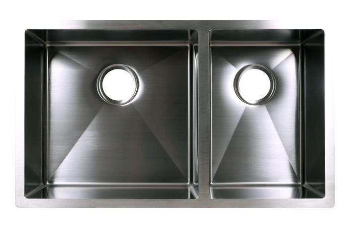 Double Bowl Zero Radius Kitchen Sink (60/40) — FINER EDGE: Precision on zero radius bar sink, zero radius blanco sink, zero radius farmhouse sink,